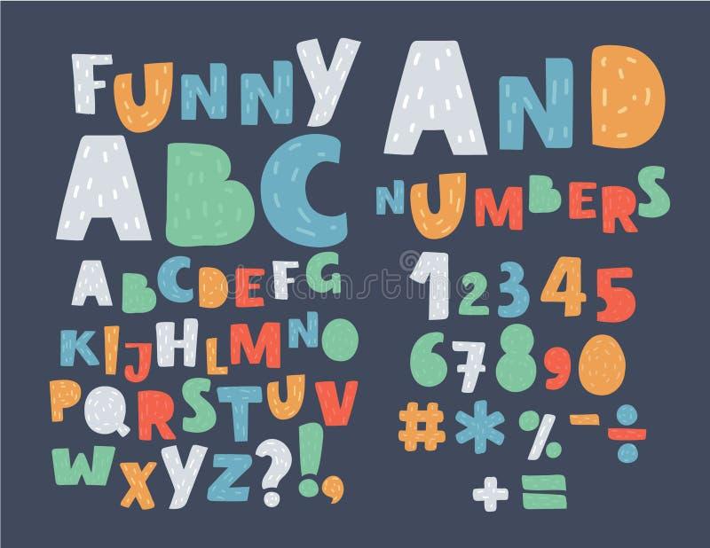Alfabeto inglês Símbolos e números caixas ilustração royalty free