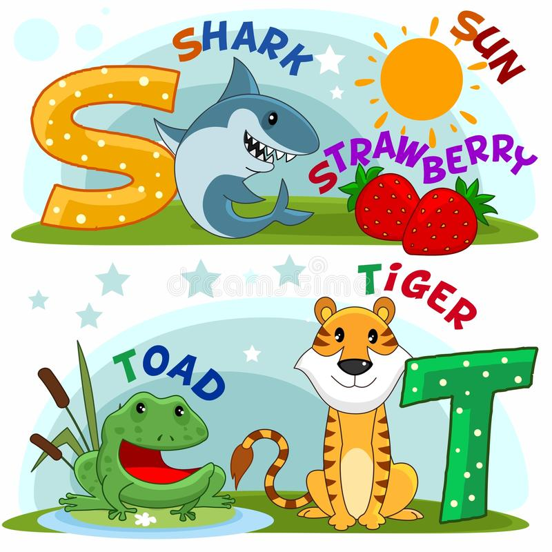 Alfabeto inglês S T ilustração stock