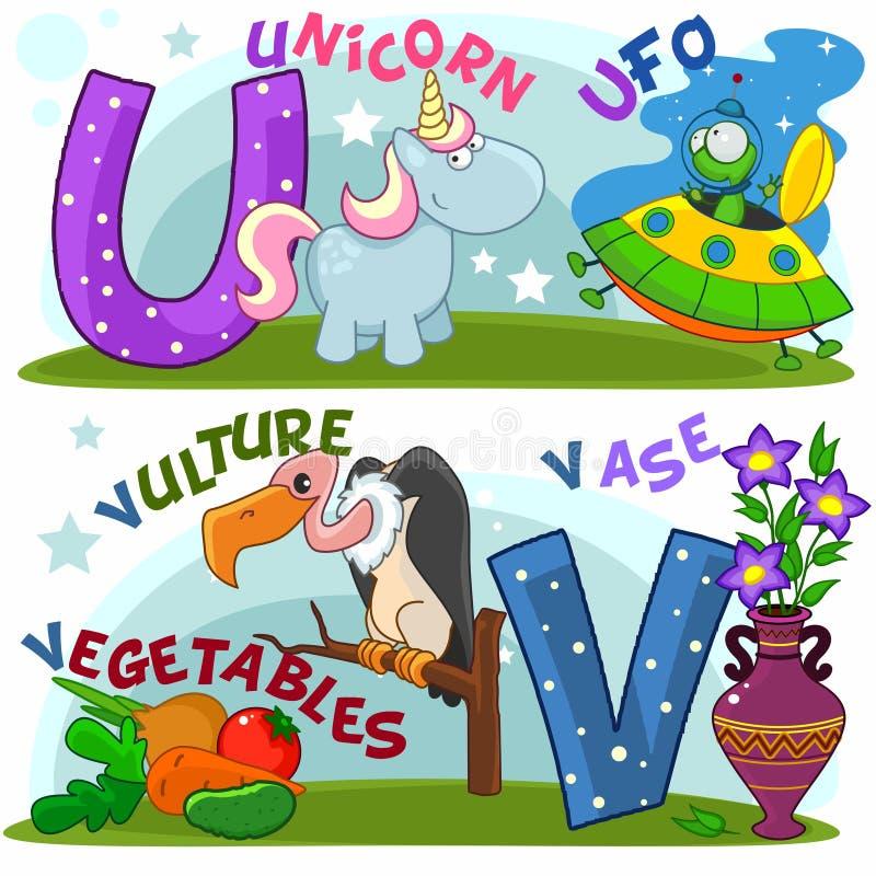 Alfabeto inglês U V ilustração do vetor