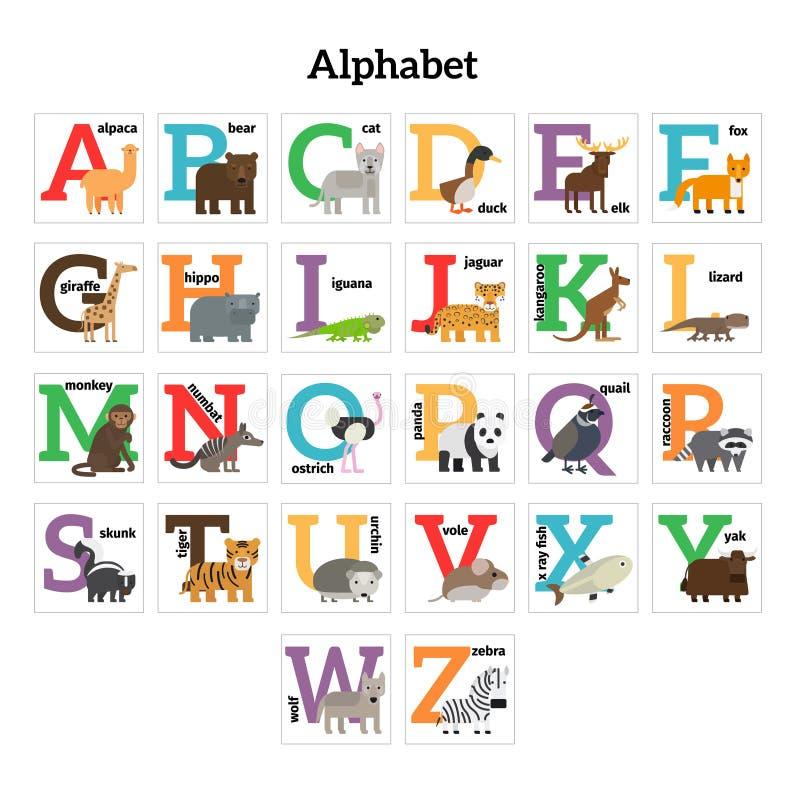 Alfabeto inglese dello zoo degli animali illustrazione vettoriale