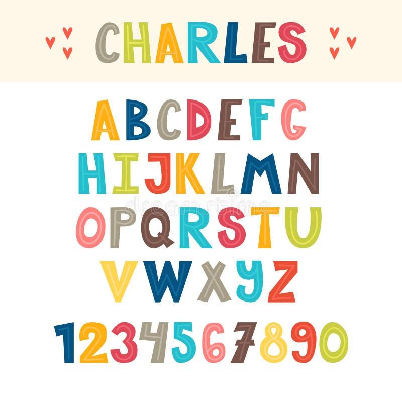 Alfabeto inglese disegnato a mano variopinto divertente Lettere e numeri svegli font illustrazione di stock