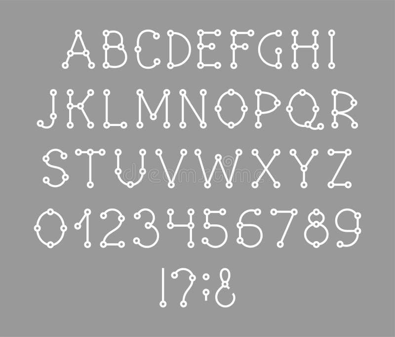 Alfabeto inglese, fonte, schema, bianco, vettore royalty illustrazione gratis
