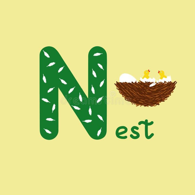 Alfabeto inglese per istruzione dei bambini, lettera N maiuscola con la parola Alfabeto variopinto di ABC dei bambini svegli nell royalty illustrazione gratis
