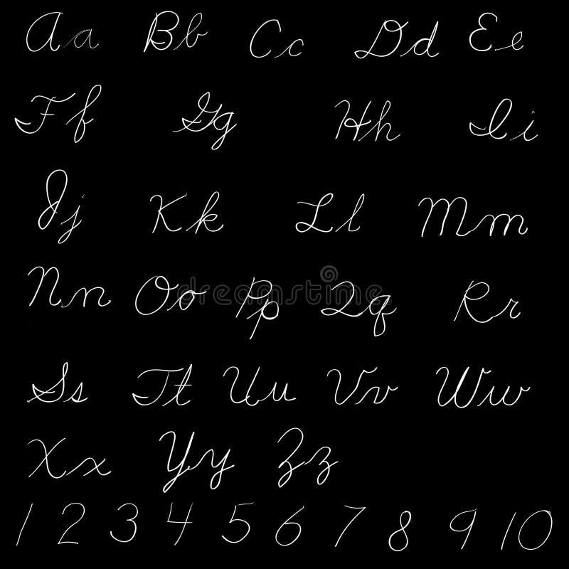 Alfabeto inglese scritto a mano - iscrizione delle lettere illustrazione di stock