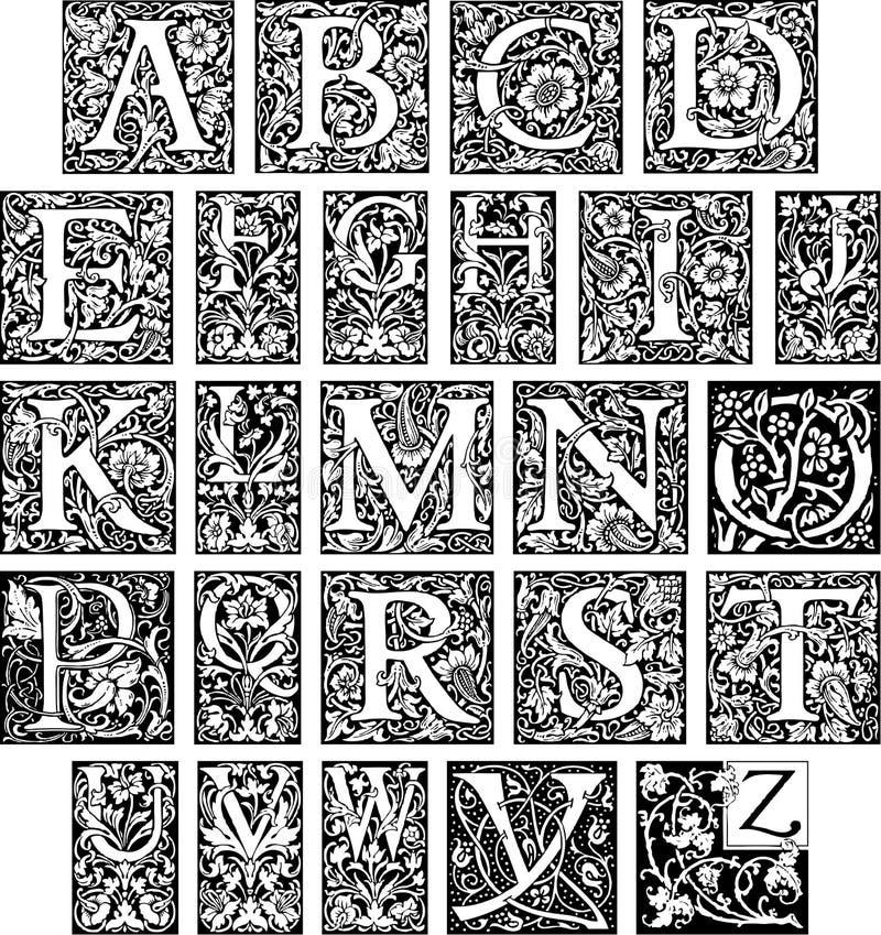 Alfabeto inicial extravagante ilustração do vetor