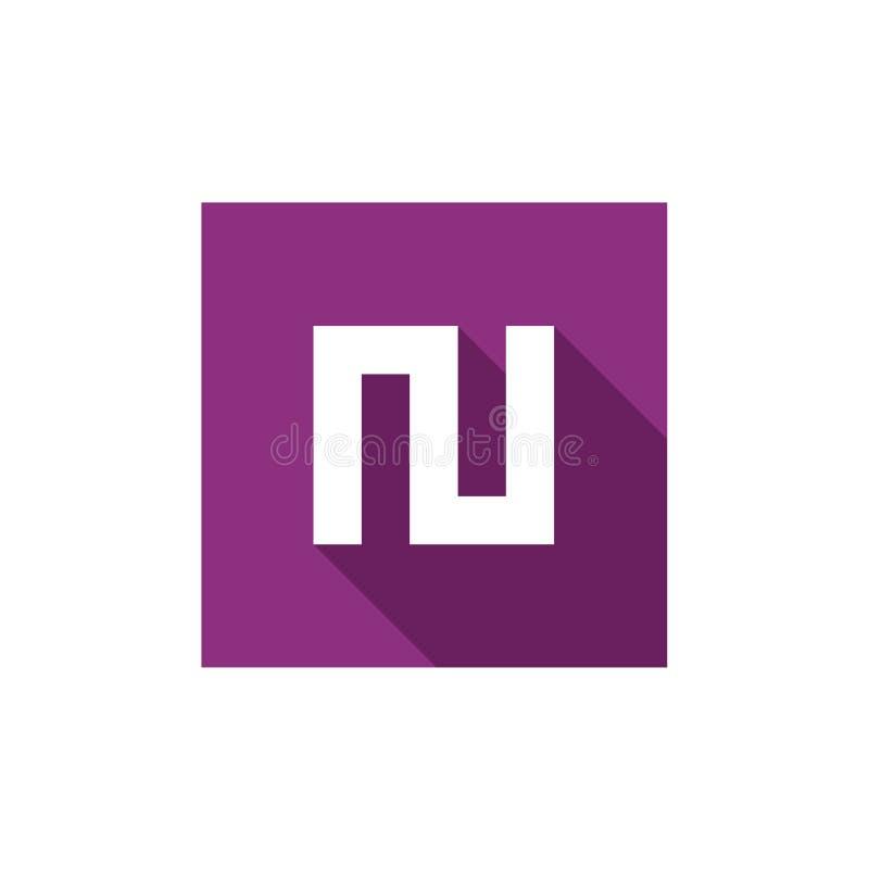 Alfabeto inicial N Logo Icon, combinado con forma cuadrada púrpura, vector Logo Illustration, icono largo plano de la sombra ilustración del vector