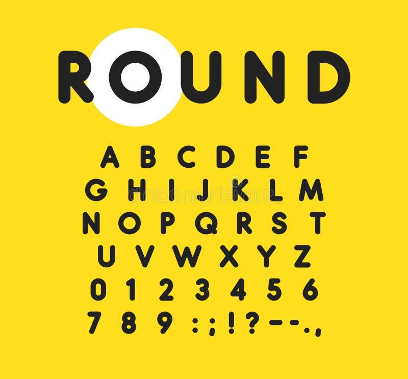 Alfabeto intrépido con las esquinas redondeadas y suaves Fuente moderna para hacer publicidad, web, evento, partido del niño, otr stock de ilustración
