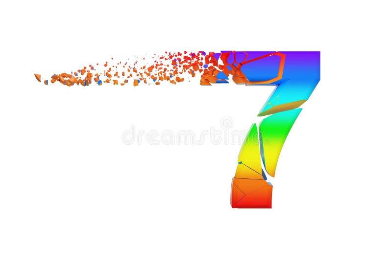 Alfabeto iridescente quebrado quebrado número 7 Fonte esmagada do arco-íris 3d rendem isolado no fundo branco ilustração stock