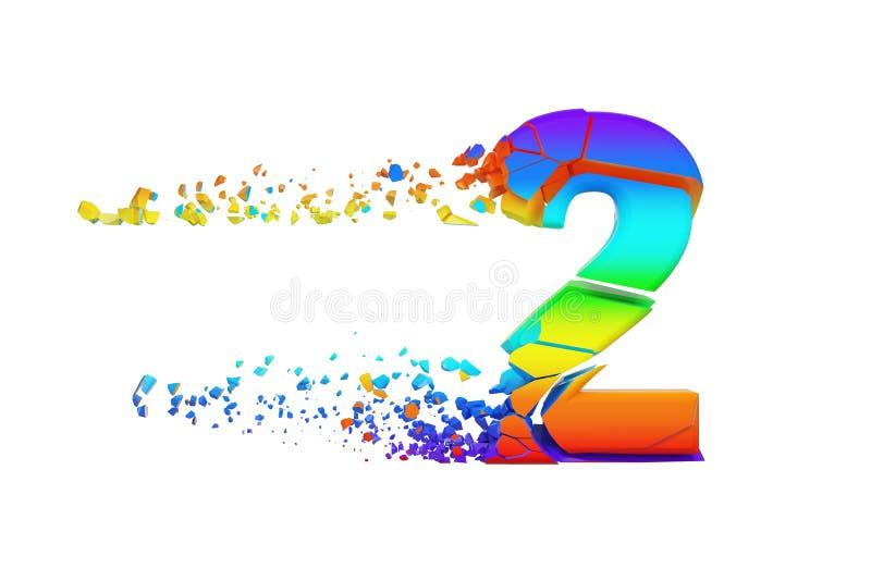 Alfabeto iridescente quebrado quebrado número 2 Fonte esmagada do arco-íris 3d rendem isolado no fundo branco ilustração do vetor