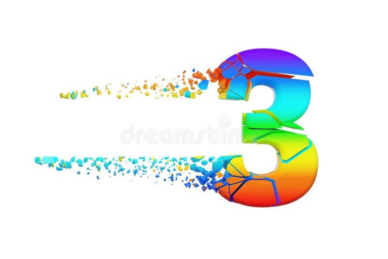 Alfabeto iridescente quebrado quebrado número 3 Fonte esmagada do arco-íris 3d rendem isolado no fundo branco ilustração royalty free