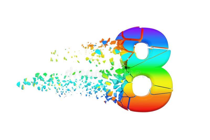 Alfabeto iridescente quebrado quebrado número 8 Fonte esmagada do arco-íris 3d rendem isolado no fundo branco ilustração do vetor