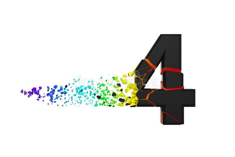 Alfabeto iridescente quebrado quebrado número 4 Fonte esmagada do preto e do arco-íris 3d rendem isolado no fundo branco ilustração royalty free