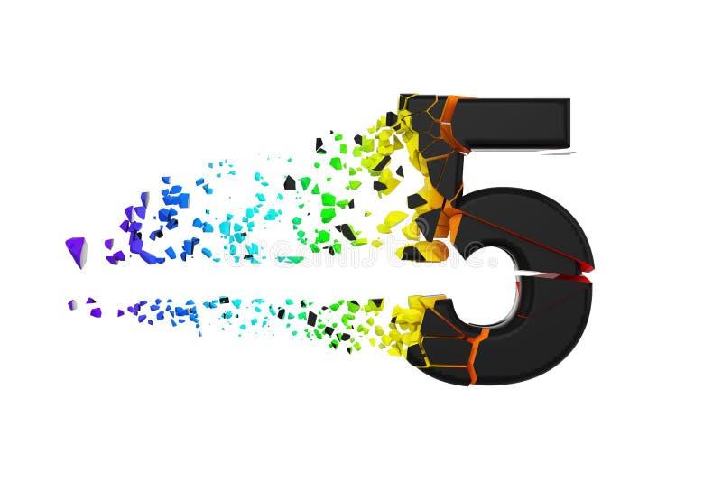 Alfabeto iridescente quebrado quebrado número 5 Fonte esmagada do preto e do arco-íris 3d rendem isolado no fundo branco ilustração do vetor