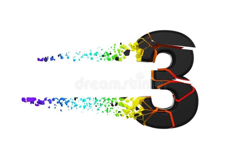 Alfabeto iridescente quebrado quebrado número 3 Fonte esmagada do preto e do arco-íris 3d rendem isolado no fundo branco ilustração royalty free