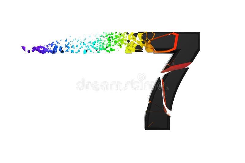 Alfabeto iridescente quebrado quebrado número 7 Fonte esmagada do preto e do arco-íris 3d rendem isolado no fundo branco ilustração do vetor