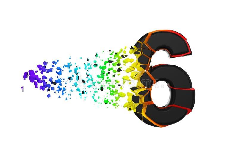 Alfabeto iridescente quebrado quebrado número 6 Fonte esmagada do preto e do arco-íris 3d rendem isolado no fundo branco ilustração do vetor
