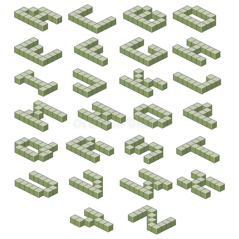 Alfabeto isométrico ABC verde Letras volumétricas stock de ilustración