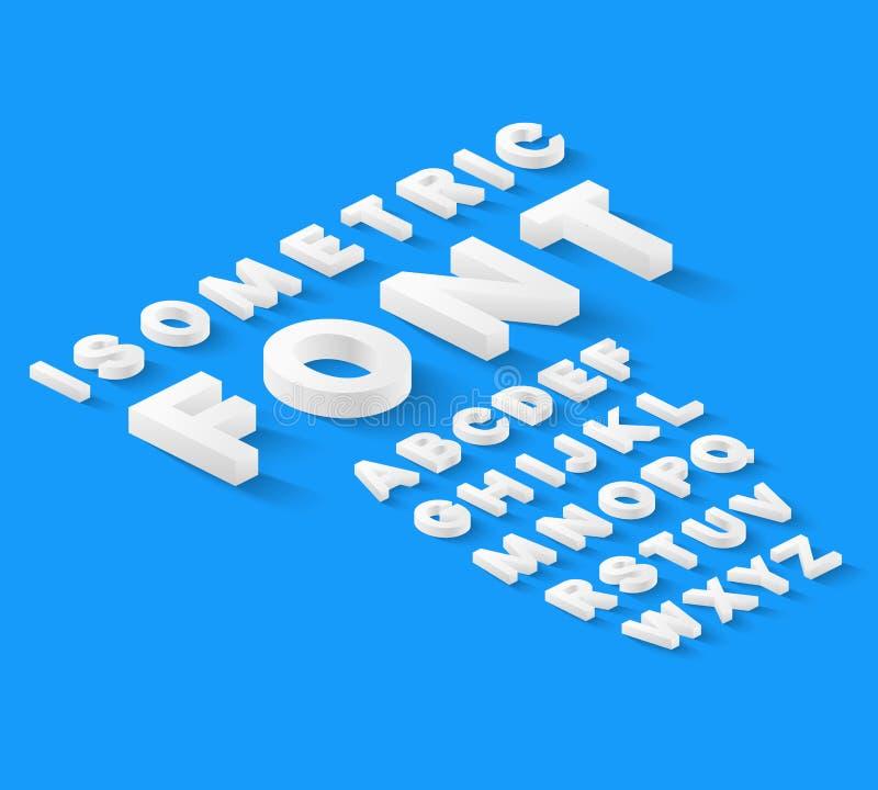 Alfabeto isométrico branco da fonte ilustração royalty free