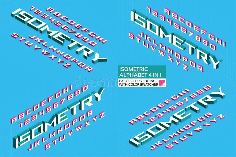 Alfabeto isométrico 4 en 1 letras 3d y números fotografía de archivo