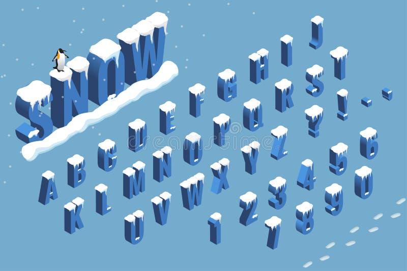 Alfabeto isometrico della fonte di inverno con neve Illustrazione piana di vettore ABC isometrico Lettere, numeri e simboli illustrazione di stock