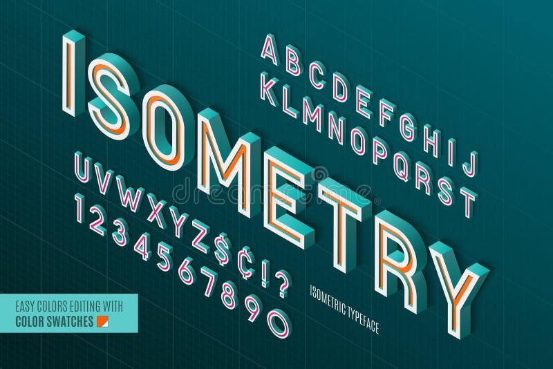 Alfabeto isometrico lettere 3d e numeri illustrazione di stock