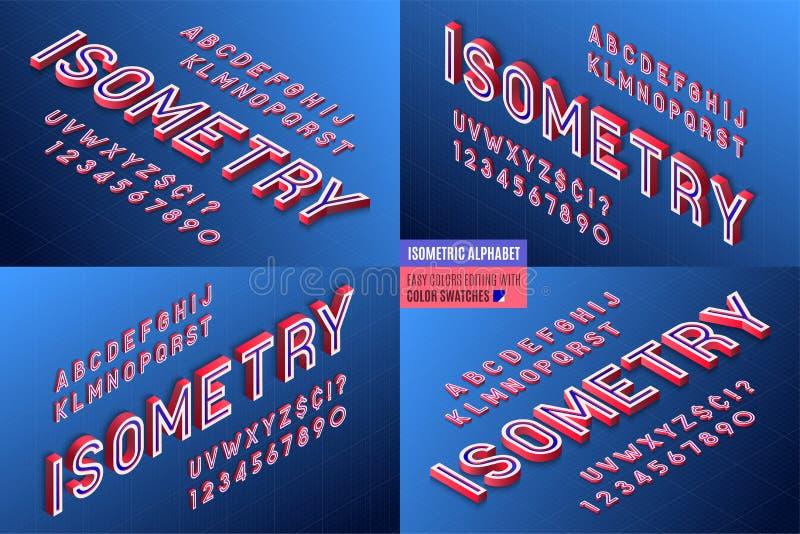 Alfabeto isometrico 4 in 1 lettere 3d e numeri illustrazione di stock