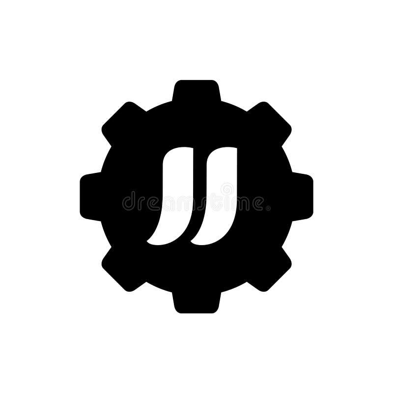 Alfabeto JJ combinado con el engranaje, vector Logo Icon Design, ejemplo blanco y negro libre illustration
