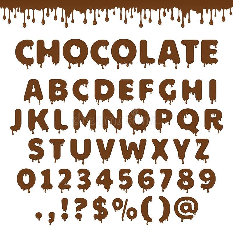 Alfabeto latin do chocolate do vetor ilustração stock