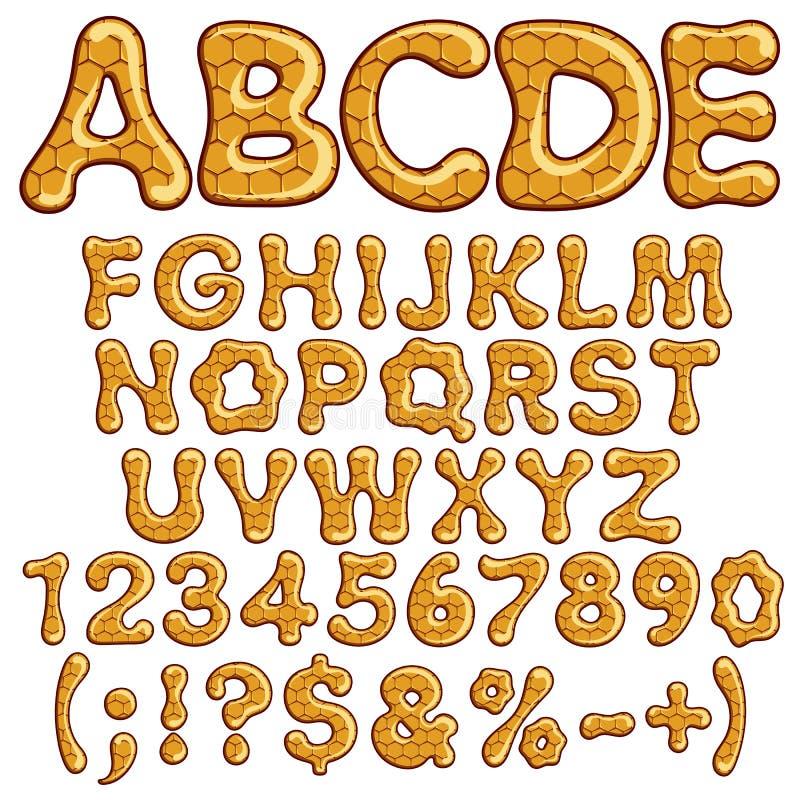 Alfabeto latino e números feitos do mel ilustração royalty free