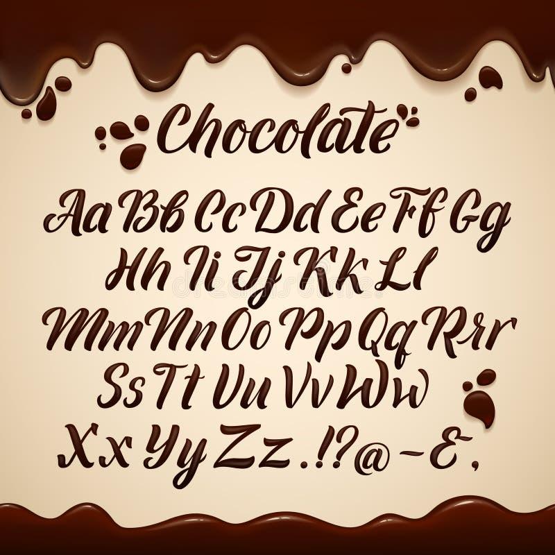 Alfabeto latino no estilo líquido Mão que escreve letras marrons do chocolate Graphhics do vetor ilustração royalty free