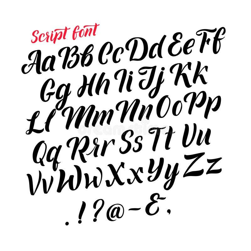 Alfabeto latino scritto a mano Lettere nere corsive Isolato delle fonti di vettore su fondo bianco royalty illustrazione gratis