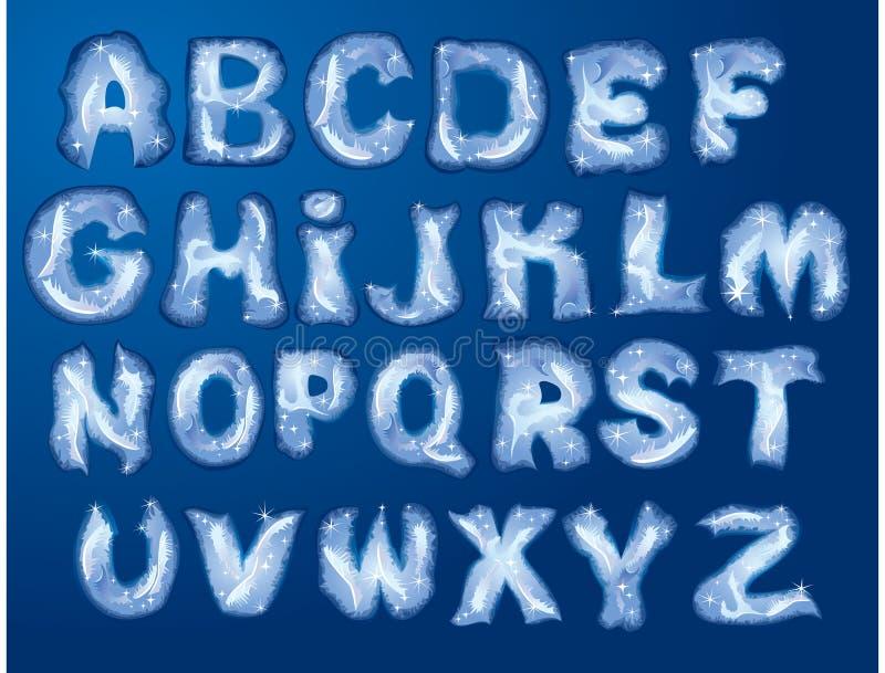 Alfabeto - le lettere sono fatte da hoarfrost royalty illustrazione gratis