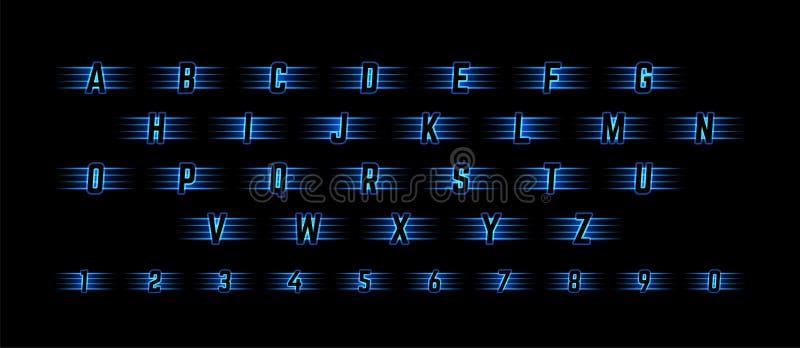 Alfabeto leggero al neon blu con i numeri Simboli brillanti per il logos, le icone, le insegne della concorrenza ed i manifesti royalty illustrazione gratis
