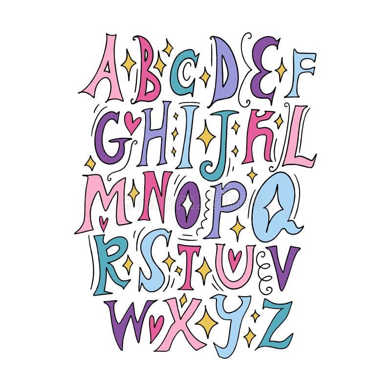Alfabeto leggiadramente di vettore Segnando, lettere iniziali, stile medievale d'annata royalty illustrazione gratis