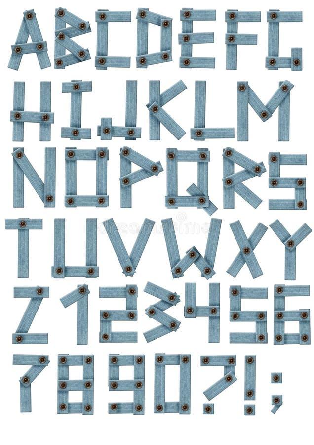 Alfabeto - letras de uma tela das calças de brim ilustração royalty free