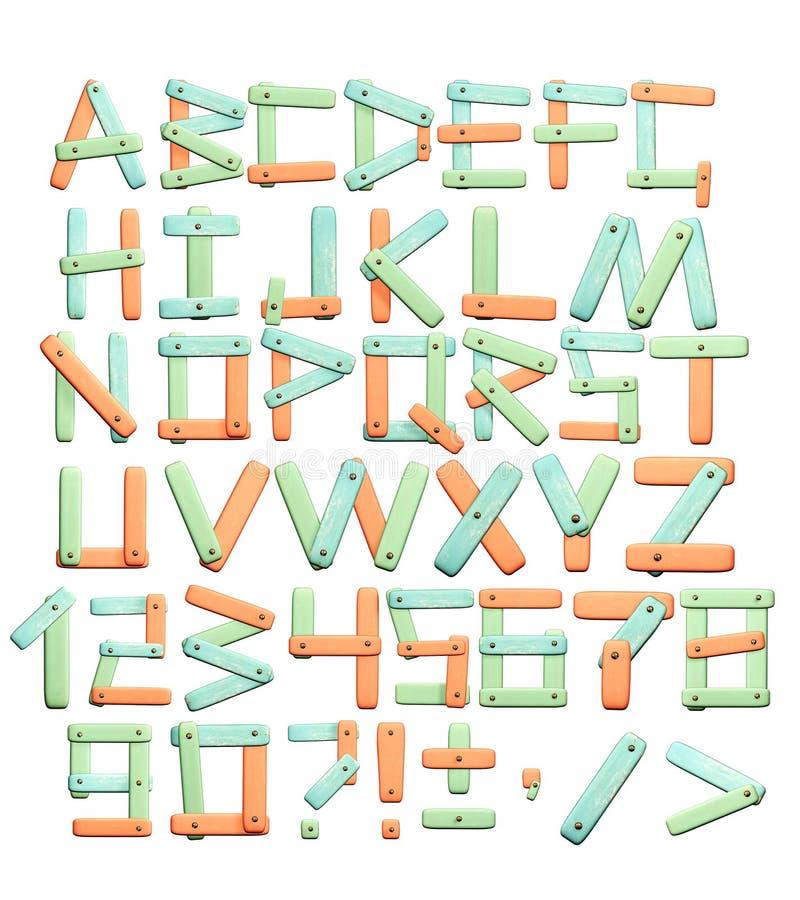 Alfabeto - letras de uma textura de papel brilhante ilustração royalty free