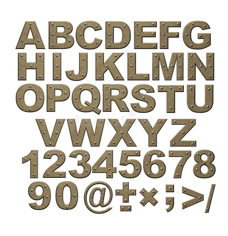 Alfabeto - letras do metal oxidado com rebites ilustração stock