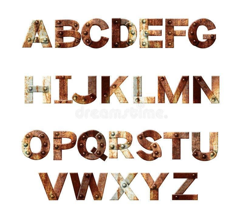 Alfabeto - letras do metal oxidado com rebites ilustração royalty free