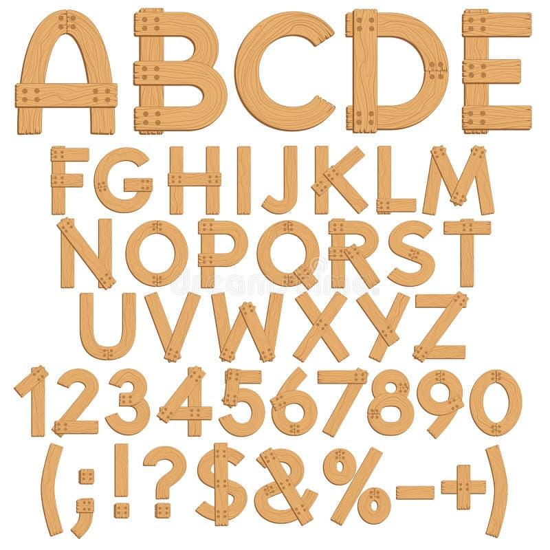 Alfabeto, letras, números e sinais das placas de madeira ilustração stock