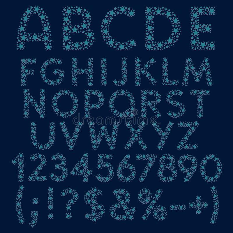 Alfabeto, letras, números y muestras de las estrellas azules, círculos con las sombras rosadas Objetos aislados libre illustration