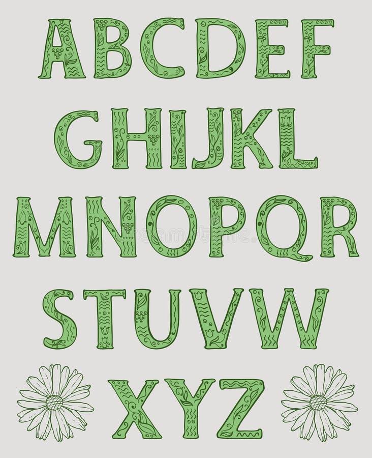 Alfabeto Letras principais decoradas com testes padrões florais ilustração do vetor