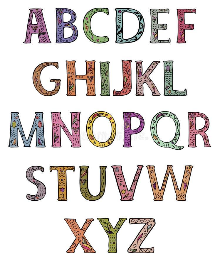 Alfabeto Letras principais decoradas com testes padrões florais coloridos ilustração do vetor