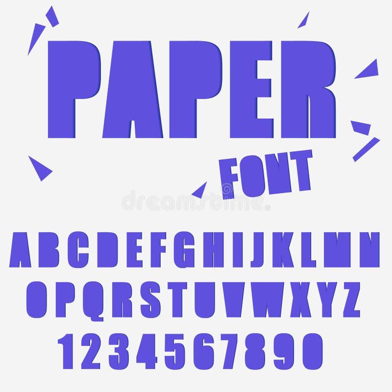 Alfabeto, letras y tipografía cortados de papel de la fuente de los números stock de ilustración