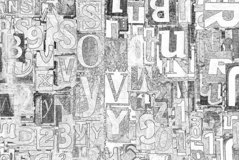 Alfabeto, lettere e numeri in bianco e nero come fondo fotografie stock