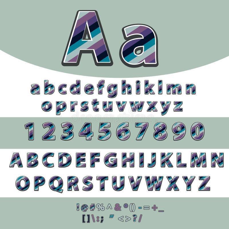 Alfabeto Lettere e vettore fissato numeri formato dalle linee colorate illustrazione vettoriale