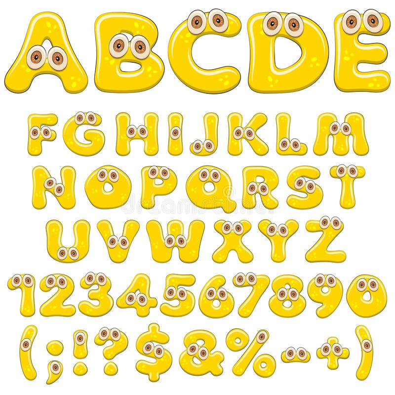 Alfabeto, lettere, numeri e caratteri gialli della gelatina con gli occhi Oggetti colorati isolati di vettore royalty illustrazione gratis