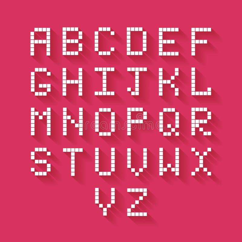 Alfabeto liso do pixel ilustração do vetor