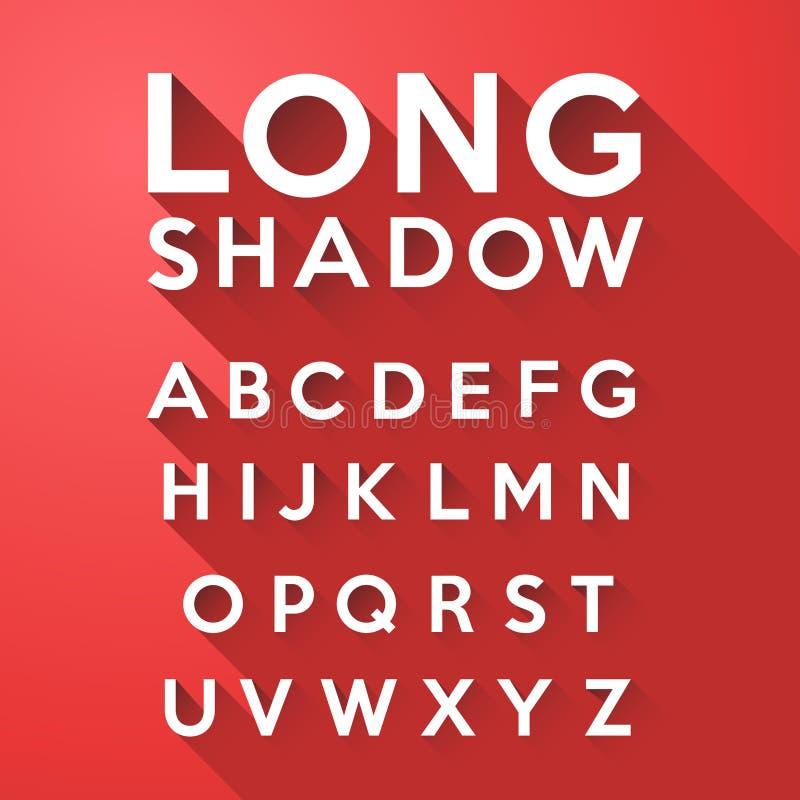 Alfabeto liso longo da sombra ilustração do vetor