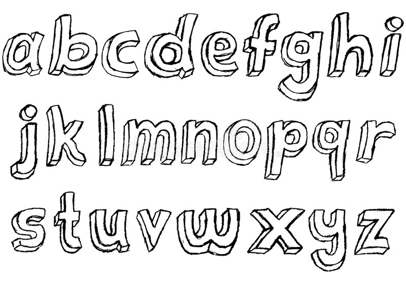 Alfabeto Lowercase hand-drawn sujo ilustração stock