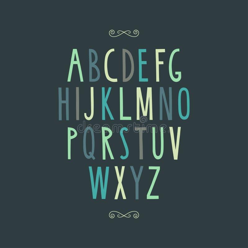 Alfabeto mínimo dibujado mano stock de ilustración